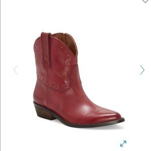 Free people red ankle cowboy boot